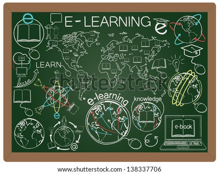 illustration of education and e learning concept design element collection set written on blackboard background vector, eps10
