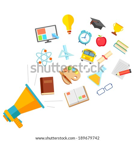 illustration of education icon in flat style coming out of megaphone - stock vector