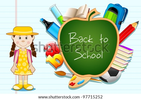 illustration of education item popping out from apple shape black board with student standing - stock vector