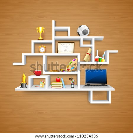 illustration of education object on display shelf - stock vector