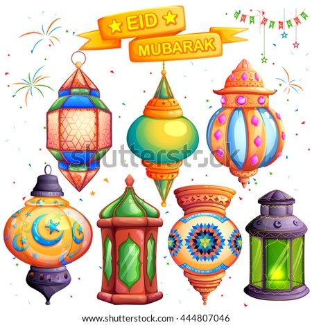 illustration of Eid Mubarak (Happy Eid) greeting in Arabic freehand with illuminated lamp - stock vector