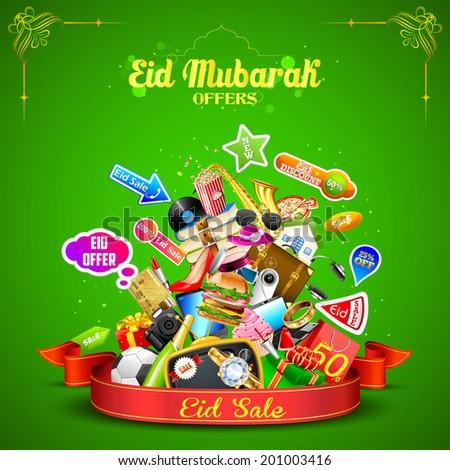 illustration of Eid Mubarak (Happy Eid) sale offer - stock vector