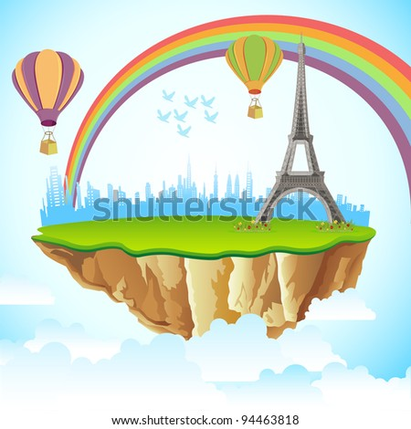 illustration of Eiffel Tower on earth in cloudscape background - stock vector