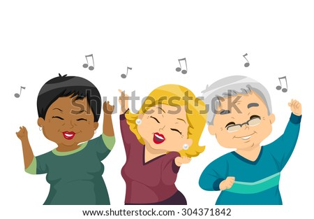 Illustration of Elderly Women Dancing at a Party - stock vector