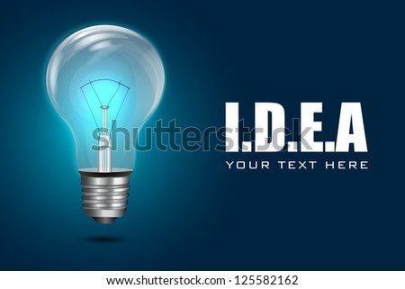 illustration of electric bulb on motivational idea background - stock vector