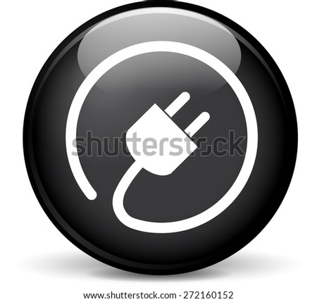 Illustration of electric plug modern design black sphere icon - stock vector