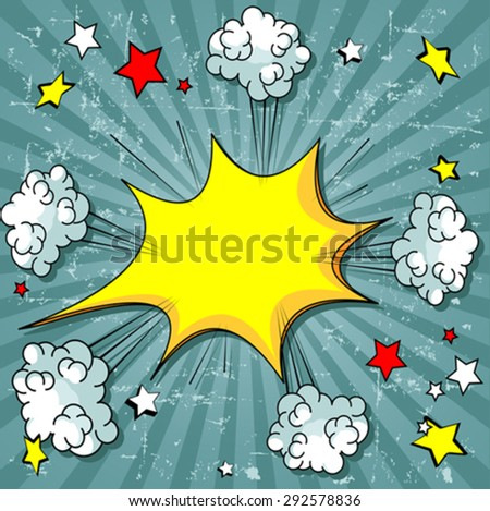 Illustration of elements exploding of comic book  - stock vector