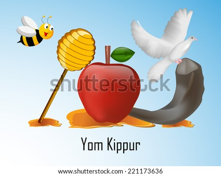 Illustration of elements for Yom Kippur - stock vector