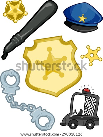 Illustration of Elements Typically Associated with the Police - stock vector