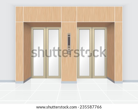 Illustration of elevator door with wood wall.