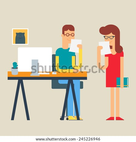 Illustration of employees working in the office, flat style  - stock vector