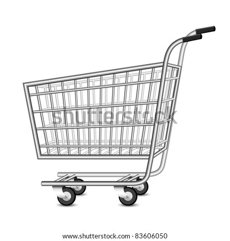 illustration of empty shopping cart on white background