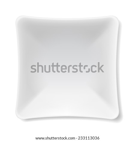 Illustration of empty white plate isolated on white background  - stock vector
