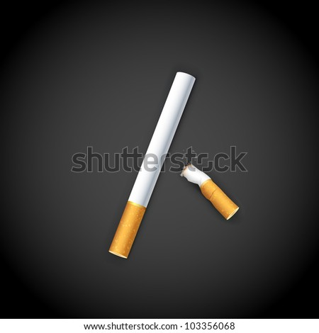 illustration of end of burning cigarette on dark background