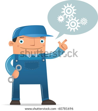 Illustration of Engineering talking about machine - stock vector