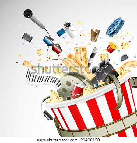 illustration of entertainment object popping out of popcorn bucket - stock vector