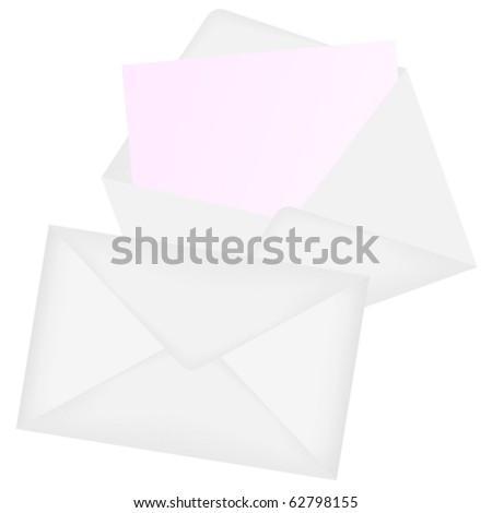 Illustration of Envelopes - Open and Closed - Isolated on White - stock vector