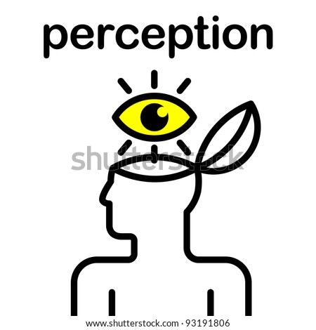 illustration of eye in stylized human head - stock vector