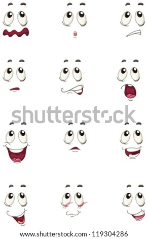 illustration of faces on a white background - stock vector