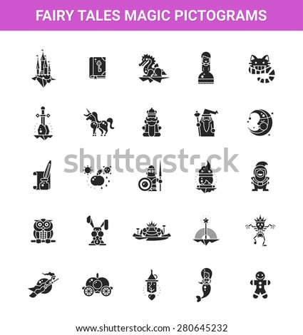 Illustration of fairy tales flat design magic vector icons and pictograms set - stock vector