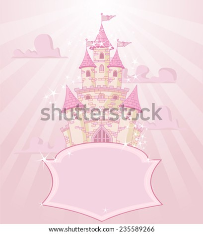 Illustration of fairytale castle with space for text - stock vector