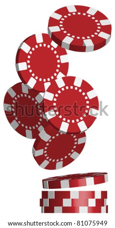 Illustration of Falling Red Poker Chips Isolated on White - stock vector