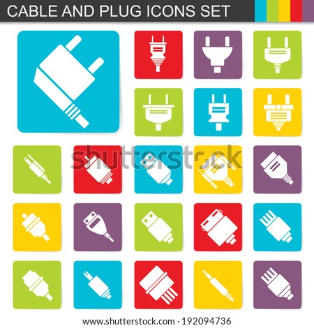 illustration of falt design cable and plug icons set - stock vector