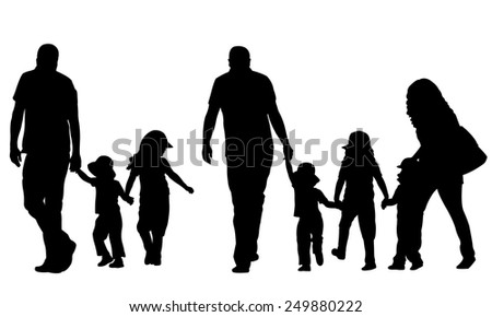 illustration of family holding hands - stock vector