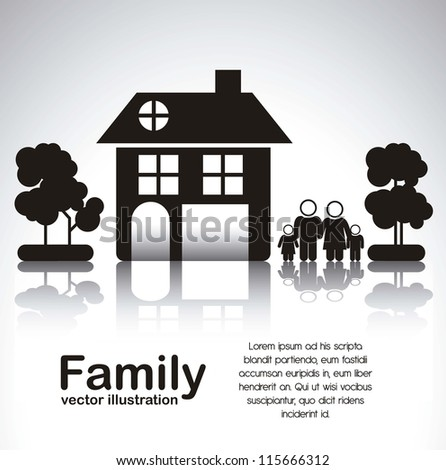 Illustration of family icons with house and trees, isolated on white background, vector illustration - stock vector