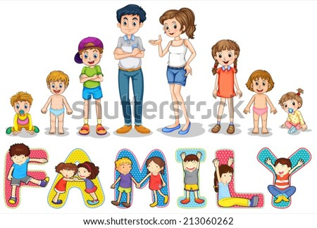 Illustration of family members and wording - stock vector