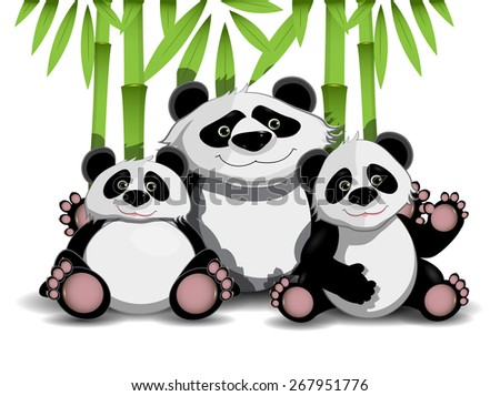Illustration of family of three pandas and bamboo