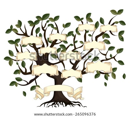 Illustration of family tree with vintage ribbons. Vector eps10. - stock vector