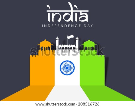 Illustration of famous monument of India Red Fort painted in national tricolors on grey background for 15th of August, Indian Independence Day celebrations.  - stock vector