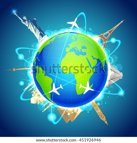 illustration of famous monuments around the globe showing world travel - stock vector