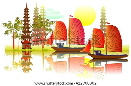 Illustration of fantasy Asian landscape, vector cartoon image.