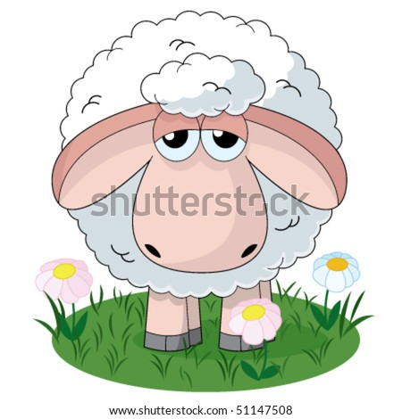 Illustration of farm sheep standing on pasture - stock vector