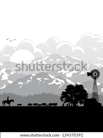 Illustration of farmer with sheep in the field, vector - stock vector