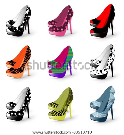 Illustration of fashion high heel woman shoes collection - stock vector