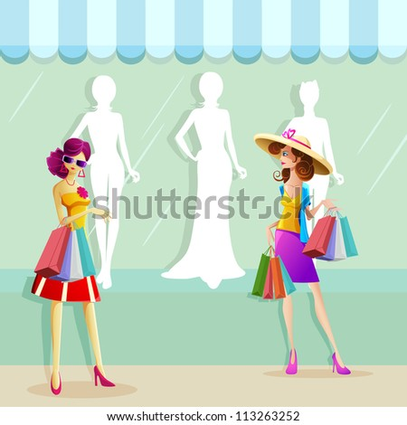 illustration of fashionable woman doing window shopping - stock vector