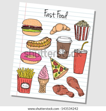 Illustration of fast food colored doodles on lined paper - stock vector