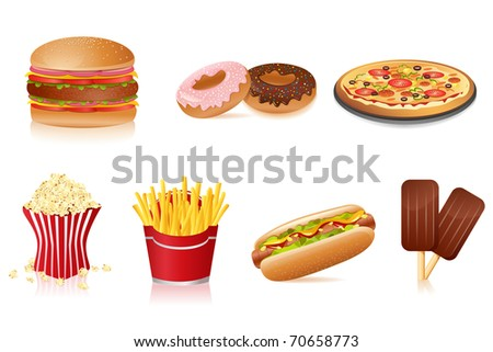 illustration of fast food on isolated background