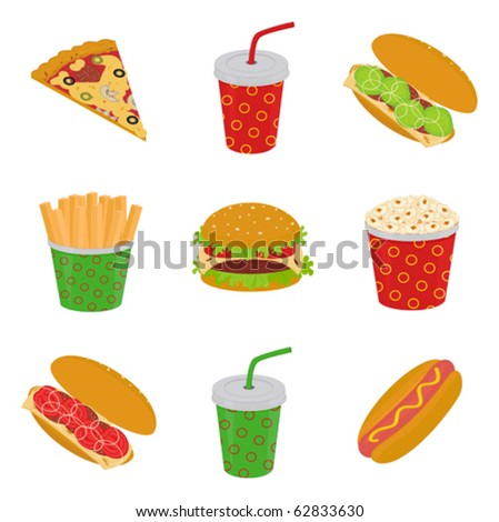 illustration of fast food: pizza, hamburger, sandwich, hot dog, popcorn, french fries, drink - stock vector