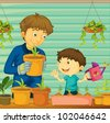 Illustration of father and son gardening - stock vector