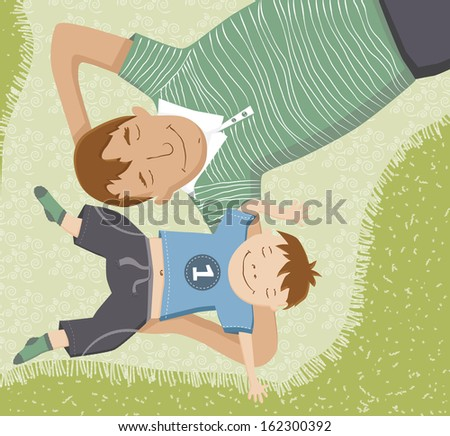 Illustration of father and son lying down on blanket having fun. - stock vector
