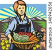 Illustration of female organic farmer with basket of crop produce harvest fruits vegetables facing front with farm fields mountains and fence in background done in retro wpa woodcut style. - stock vector