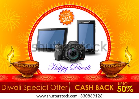 illustration of Festive Shopping Offer for Diwali holiday promotion and advertisment - stock vector