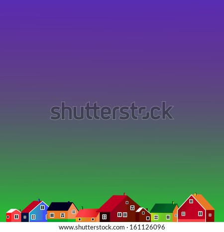 Illustration of few little colored houses - stock vector