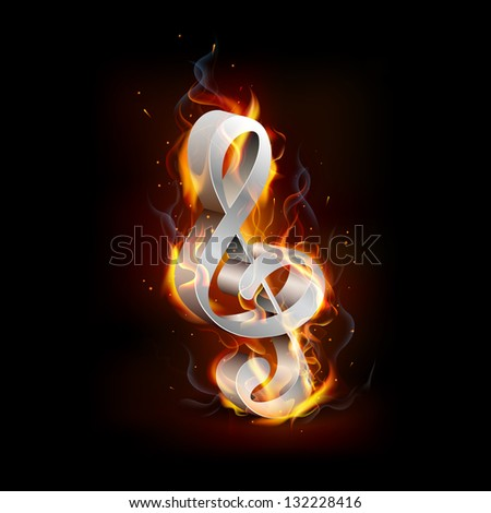 illustration of fiery music note with flame - stock vector