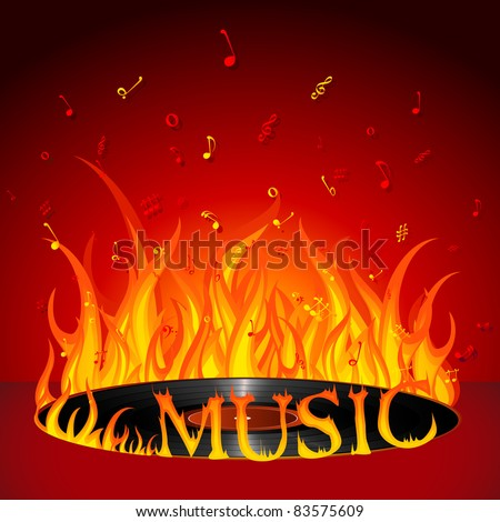 illustration of fiery music on burning disc - stock vector