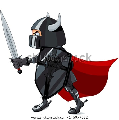 Illustration of fighting knight - stock vector